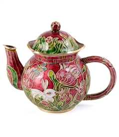 Cloisonne Tulips and Bunny Teapot