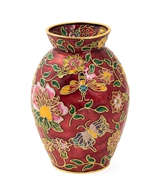 Cloisonne  Butterfly and Bumble Bee Flower Vase