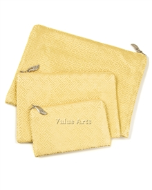 Silk Brocade Greek Key Set of 3 Pouch