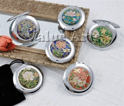 Cloisonne Round Compact Mirror With Black Pouch