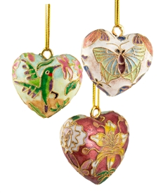 Cloisonnel Florals Heart Ornament