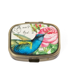 blue hummingbird pill box