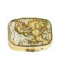 Vintage World Map Pill  Box with Gold Sparkling Metallic