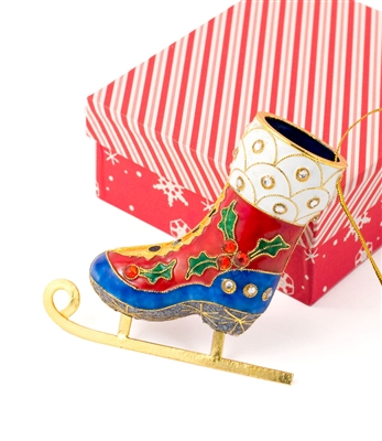 Cloisonne Skate With Sparkling Crystal Ornament