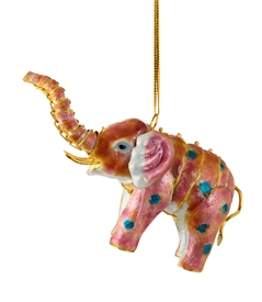 Cloisonne Articulate Pink Elephant Ornament