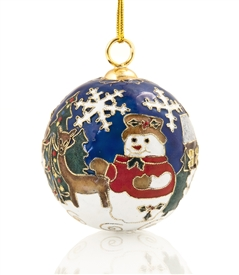 Cloisonne Snowman Ball Ornament