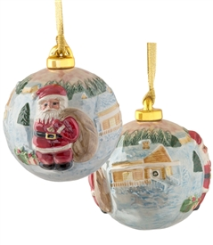 Hand Sculptured and Painted Santa with Gift Bag Porcelain Ball