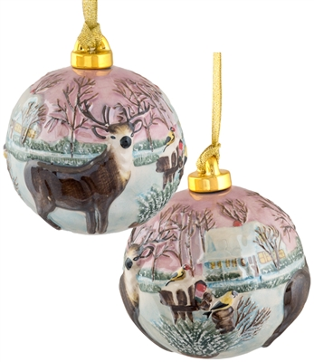 Hand Sculptured and Painted Deer Porcelain Ball