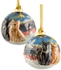 Hand sculptured and Painted Christmas Cat Porcelain Ornament