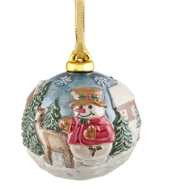 Hand sculptured and Painted Snowman Porcelain Ball Ornament