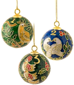 Cloisonne 12 Days of Christmas Ball Ornament