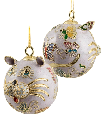 Cloisonne Cat With Butterfly Ornament