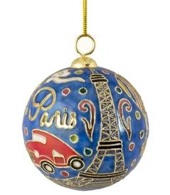 Cloisonne Love Paris Ball Ornament