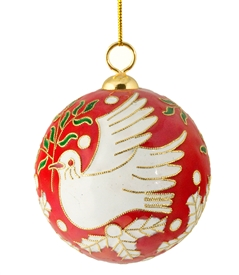 Cloisonne Peace Dove Ball Ornament