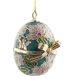 Cloisonne Egg With Butterfly Bow Ornament