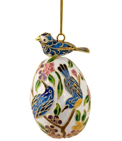 Cloisonne Bird On Egg Ornament