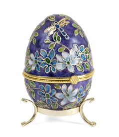 Cloisonne Egg Box With Gold Stand