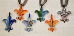 Murano Stayle Glass Fleur de lis Necklace With Cord