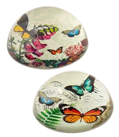Butterfly / Dome Crystal Paperweight