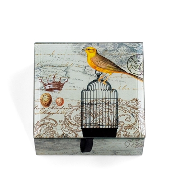 Yellow Bird with Cage Keepsake Box