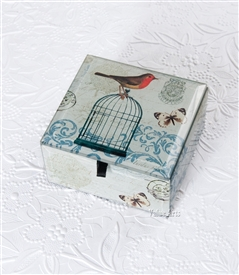 Finch Bird on Bird Cage Treasure Box