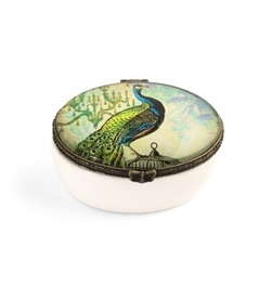 Peacock Design Ceramic Oval Keepsake Box