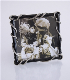 Crystal Rope Picture Frame with Black Enamel