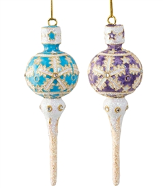 Cloisonne Icicle Ornament with Glitter
