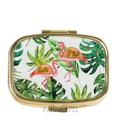 Flamingo Pill  Box with Gold Sparkling Metallic