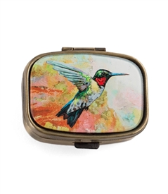 Hummingbird Vintage Looking Pill Box