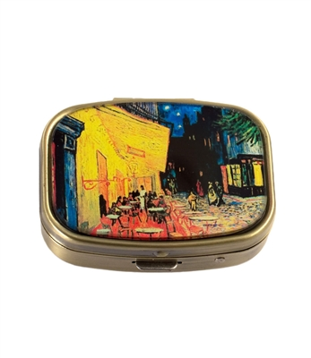 Cafe Terrace At Night Vintage Pill Box