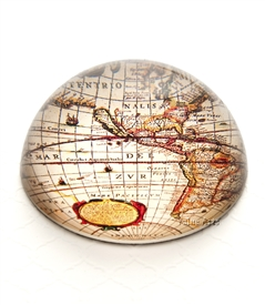 Vintage World Map Crystal Dome Paperweight