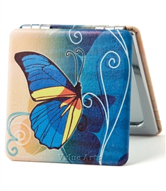 blue butterfly compact mirror