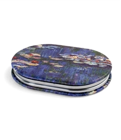 Monet Water Lilies Oval Travel Mirror