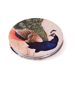 Blue Peacock Round Travel Mirror