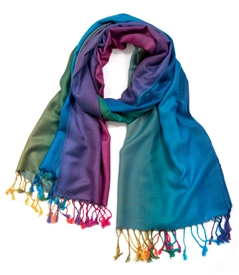 Multi-color  Fringed Edge Wrap Scarf