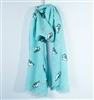 Owl Print Scarf in Turquoise