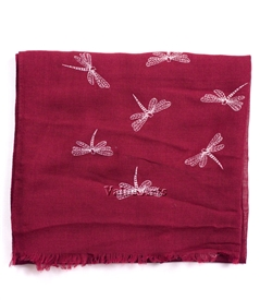 Dragonfly Scarf in Burgundy
