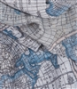 Vintage World Map Scarf in Blue