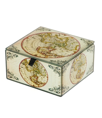 Vintage World Map Keepsake Box with Gold Sparking Metallic