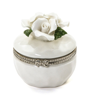 Porcelain Rose Hinged Trinket Box