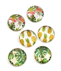 Botanical Magnet with Gold Sparkling Metallic /Set of 6