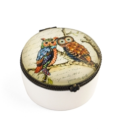A Pair of Owl on Branch Ceramic Keepsake Box