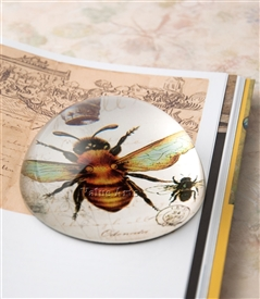 Vintage Bee with Crown Crystal Dome Paperweight