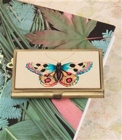blue butterfly card case