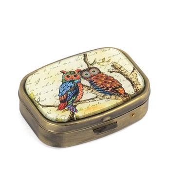 A Pair of owl Pill Box