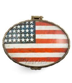 Vintage American Flag Oval Keepsake Box