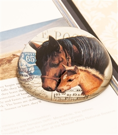 Vintage Horse Crystal Dome Paperweight