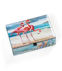 Flamingo  on Beach Treasure Box