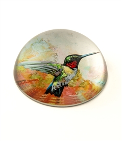 Crystal Glass Dome Humming Bird Paperweight
